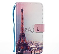 For Case Cover Card Holder Wallet with Stand Flip Magnetic Pattern Full Body Case Eiffel Tower Hard PU Leather for Samsung Galaxy J7