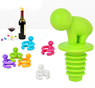 cheap -Creative Shape Small Drunkard Wine Bottle Stopper With Six Wine Glass Marker Funny Cup Marke Random Color