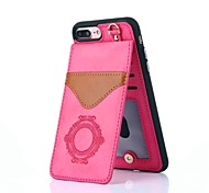 cheap -Case For Apple iPhone X iPhone 8 Card Holder with Stand Pattern Back Cover Lace Printing Hard Genuine Leather for iPhone X iPhone 8 Plus