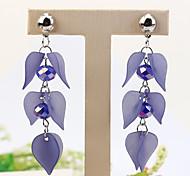 preiswerte -Damen Lang Tropfen-Ohrringe - Blume Modisch Grau / Blau / Leicht Rosa Für Normal