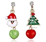 abordables -Mujer Árbol de la vida Cristal Brillante Pendientes colgantes - Dorado Aretes Para Navidad