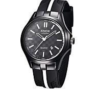 Men's Fashion Watch Wrist watch Quartz Silicone Band Casual Black