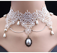 Women's Choker Necklaces Imitation Diamond Oval Imitation Pearl Lace Cute Style Classic Jewelry For Wedding Party