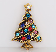 cheap -Men's Women's Brooches Rhinestone Simple Sweet Rhinestone Alloy Tree of Life Gold Jewelry For Christmas