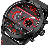 Men's Military Watch Fashion Watch Wrist watch Japanese Quartz Leather Band Black