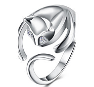 cheap -Women's Copper Silver Plated Cat - Cat Open Fashion Silver Ring For Party Office & Career
