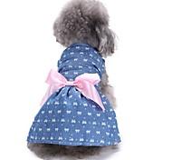 Недорогие -Кошка Собака Платья смокинг Одежда для собак Для вечеринки На каждый день Свадьба Рождество Новый год Бант Синий