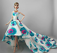 Party/Evening Dresses For Barbie Doll Blue/White Dresses For Girl's Doll Toy