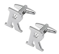 cheap -Alphabet Shape Silver Cufflinks Copper Romantic New Year Men's Costume Jewelry