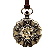 baratos -Homens Mulheres Relógio de Bolso Chinês Quartzo Mostrador Grande Relógio Casual Couro Banda Vintage Elegant Marrom