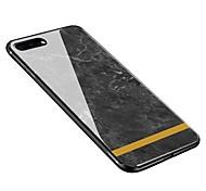 Недорогие -Кейс для Назначение Apple iPhone X iPhone 8 Plus С узором Кейс на заднюю панель Мрамор Мягкий Закаленное стекло для iPhone X iPhone 8