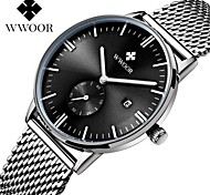 WWOOR Men's Casual Watch Quartz Calendar Water Resistant / Water Proof Noctilucent Stainless Steel Band Casual Elegant Silver
