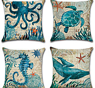 cheap -4 pcs Cotton/Linen Pillow Case Pillow Cover,printing Fashion Novelty Vintage Casual European Traditional/Classic Neoclassical