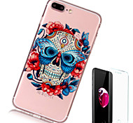 cheap -Case For Apple iPhone X iPhone 8 Plus Transparent Pattern Back Cover Skull Soft TPU for iPhone X iPhone 8 Plus iPhone 8 iPhone 7 Plus