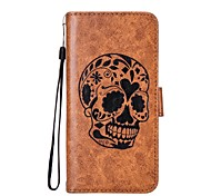 cheap -Case For Samsung Galaxy Xperia XZ Xperia L1 Card Holder Wallet with Stand Flip Magnetic Pattern Embossed Full Body Cases Skull Hard PU
