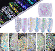 0.5g / bouteille nail art beauté paillettes xmas flocon de paillettes paillettes holographique pétillant irrégulière verre galaxie