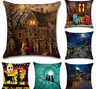 набор из 6 Хэллоуин старый особняк тыква шаблон подушка крышка винтаж 45 * 45 см наволочка творческий диван подушка покрытие