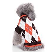 Недорогие -Кошка Собака Свитера Одежда для собак На каждый день Наколенники Мода Новый год В клетку Кофейный Синий Костюм Для домашних животных