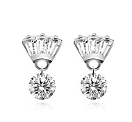 Women's Stud Earrings Crystal Cubic Zirconia Sweet Lovely Fashion Hypoallergenic Elegant Copper Silver Plated Crown Irregular Jewelry For