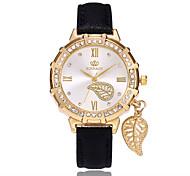 preiswerte -Damen Quartz Armbanduhr Chinesisch PU Band Blätter Freizeit Modisch Schwarz Weiß Blau Rot Gold Lila Rose Himmelblau