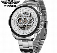 cheap -WINNER Men's Automatic self-winding Mechanical Watch / Wrist Watch Hollow Engraving / Cool Stainless Steel Band Luxury / Vintage / Casual
