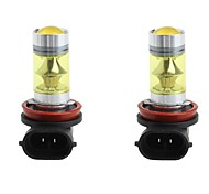 2pcs 100W High Power H11 SMD3030 20 LED Fog Light 3030 Yellow Driving Bulb DC9-30V