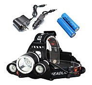 cheap -Headlamps Bike Lights Headlight LED 5000 Lumens 2x18650 4 Mode 3 X Cree XM-L T6 Rechargeable Waterproof Camping/Hiking/Caving Everyday