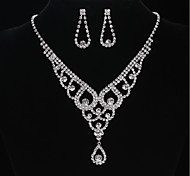 cheap -Women's Cubic Zirconia Jewelry Set - Cubic Zirconia, Rhinestone Include Drop Earrings / Pendant Necklace Silver For Wedding / Evening Party