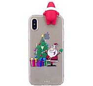 Кейс для Назначение Apple iPhone X iPhone 8 Plus Защита от удара Задняя крышка 3D в мультяшном стиле Рождество Мягкий TPU для iPhone X