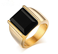 Men's Band Rings Personalized Fashion Stainless Steel Agate Gold Plated Jewelry Party Daily Casual