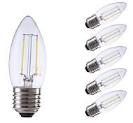 preiswerte -GMY® 6pcs 2W 250/200 lm E27 LED Glühlampen C35 2 Leds COB Dekorativ LED-Lampe Warmes Weiß Kühles Weiß Wechselstrom 220-240V