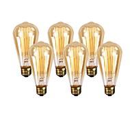 cheap -GMY® 6pcs 60W E26 ST64 Warm White 2200 K Retro Dimmable Decorative Incandescent Vintage Edison Light Bulb AC 110-130V V