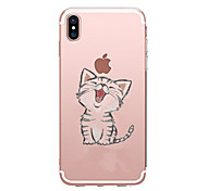 cheap -Case For Apple iPhone X iPhone 8 iPhone 8 Plus Ultra-thin Transparent Pattern Back Cover Cat Soft TPU for iPhone X iPhone 8 Plus iPhone 8