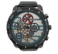 economico -Per uomo Orologio da polso Creativo unico orologio Cinese Quarzo Quadrante grande Lega Pelle Banda Vintage Fantastico Nero