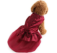 cheap -Dog Dress Dog Clothes Solid Colored Sequin Red Blue Terylene Costume For Pets Women's Holiday Fashion Wedding