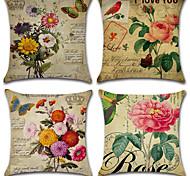 cheap -4 pcs Cotton/Linen Pillow Cover, Floral Bohemian Style Retro