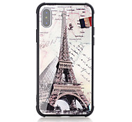 baratos -Capinha Para Apple iPhone X iPhone 8 Antichoque Estampada Capa traseira Palavra / Frase Bandeira Torre Eiffel Rígida Vidro Temperado para