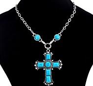 Недорогие -Жен. Крест Винтаж Богемные Ожерелья с подвесками Бирюза Бирюза Сплав Ожерелья с подвесками , Для вечеринок