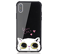 cheap -Case For Apple iPhone X iPhone 8 Shockproof Pattern Back Cover Cat Word / Phrase Heart Hard Tempered Glass for iPhone X iPhone 8 Plus