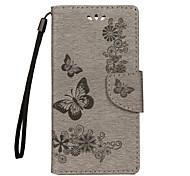 Недорогие -Кейс для Назначение Sony Xperia XZ Premium Xperia XZ Бумажник для карт Кошелек со стендом Флип Рельефный Чехол Бабочка Твердый