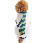 cheap -Dog Shirt / T-Shirt Dog Clothes Stripe White Cotton Costume For Pets Men's Holiday Fashion