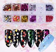 Недорогие -1 комплект Ар деко / Ретро Глянцевые Рождество Гель для ногтей Пайетки Советы для ногтей Дизайн ногтей