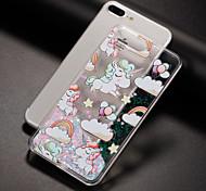Недорогие -Кейс для Назначение Apple iPhone 7 iPhone 7 Plus iPhone 6 Движущаяся жидкость С узором Задняя крышка единорогом Твердый PC для iPhone 7