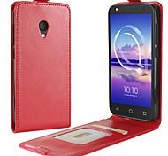 Недорогие -Кейс для Назначение Alcatel alcatel U5 4G A7 Бумажник для карт Флип Чехол Сплошной цвет Твердый Кожа PU для alcatel U5 HD Alcatel U5 4G