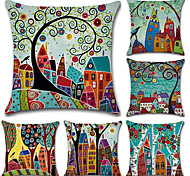 cheap -6 pcs Cotton/Linen Pillow Cover, Botanical Bohemian Style Retro