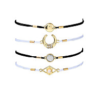 cheap -Women's Chain Bracelet Charm Bracelet Rhinestone Acrylic Metallic Casual Fashion Horns Resin Alloy Circle Moon Jewelry Going out Street