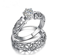 cheap -Couple's Cubic Zirconia Couple Rings - Gold Plated Crown Fashion 6 / 7 / 8 White For Gift / Valentine