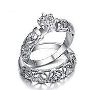 Недорогие -Для пары Цирконий Позолота В форме короны Кольца для пар - 2шт В форме короны Мода Белый Кольцо Назначение Подарок / Валентин