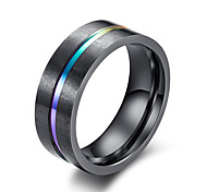 cheap -Men's Band Ring - Circle Simple Casual Fashion Black Ring For Office & Career Work