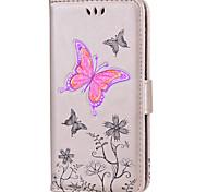 baratos -Capinha Para Apple iPhone 8 iPhone 8 Plus Porta-Cartão Flip Estampada Com Relevo Capa Proteção Completa Borboleta Glitter Brilhante Rígida